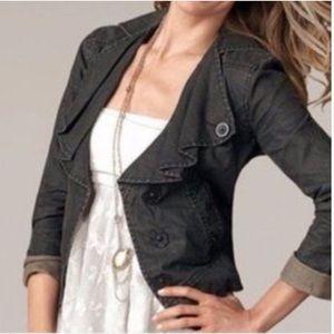 CAbi Black Waxed Linen Moto Jacket Sz S